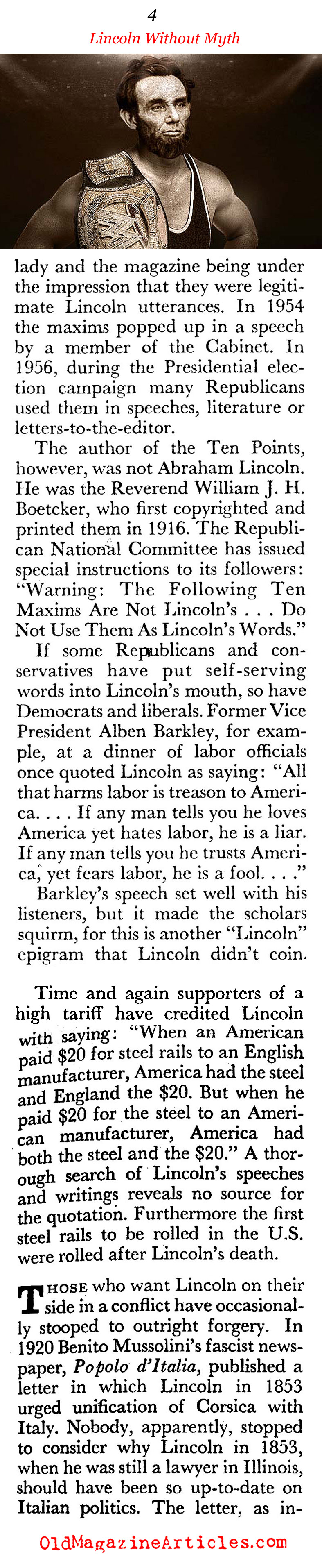 Lincoln Without the Myths (Coronet Magazine, 1961)
