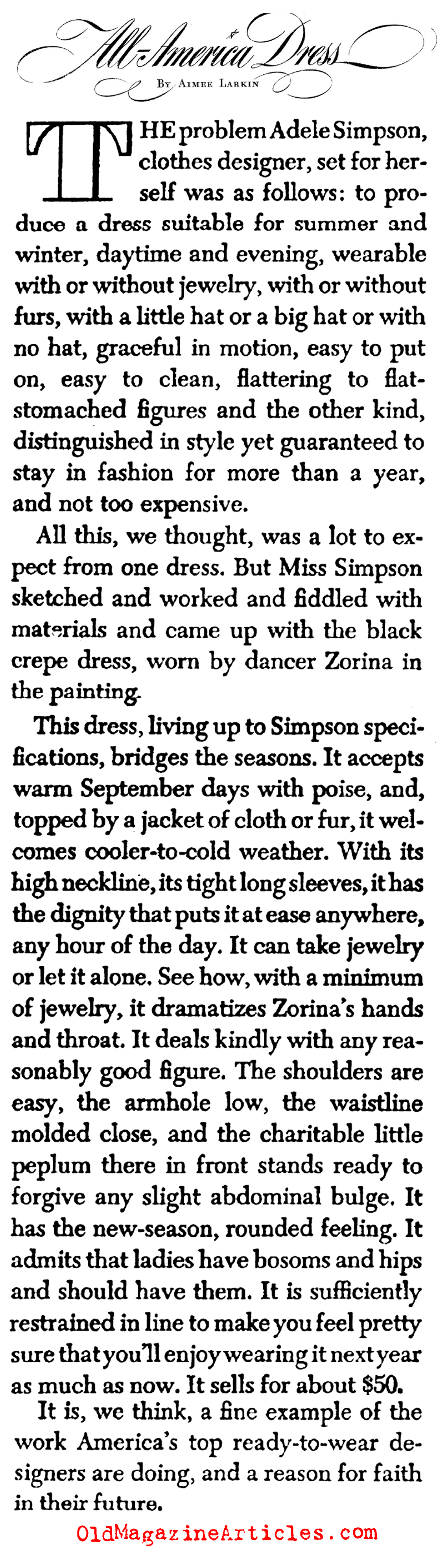 Adele Simpson and Her Fashions (Collier's Magazine, 1945)