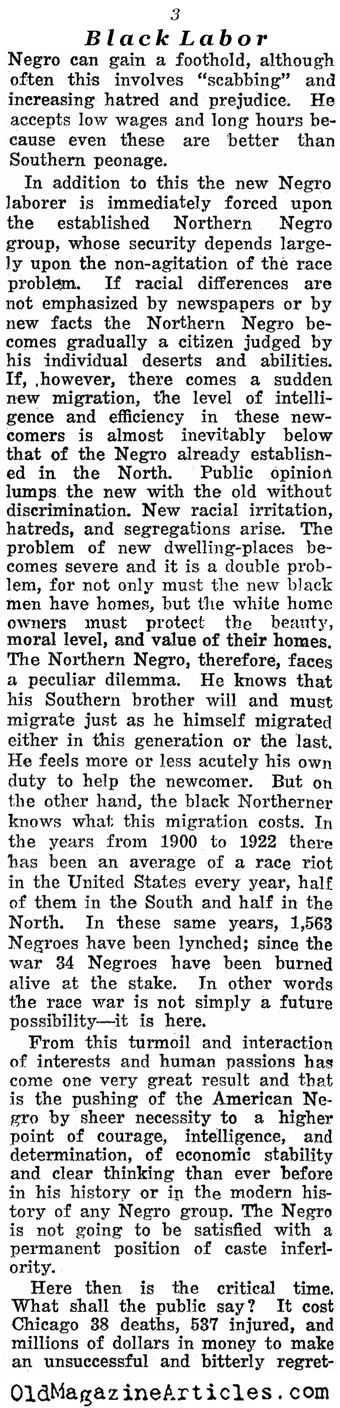 W.E.B. DuBois on Black Labor (Reader's Digest, 1923)