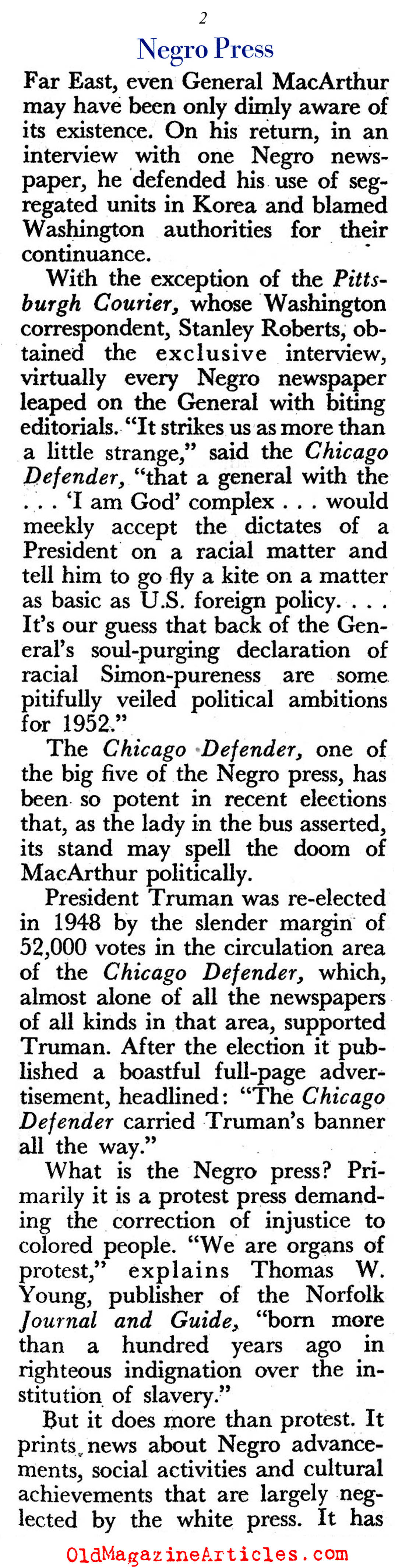 The Power of the African-American Press (Pageant Magazine, 1952)