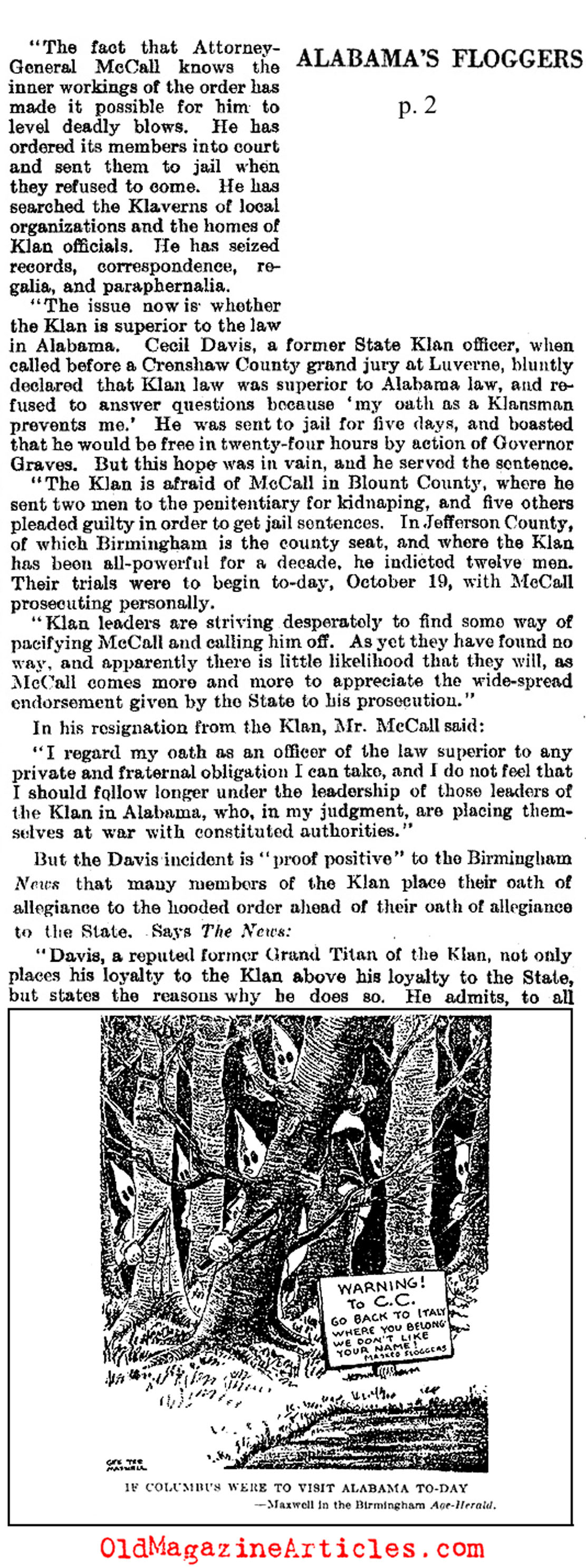 Alabama Klan Convictions  (Literary Digest, 1927)