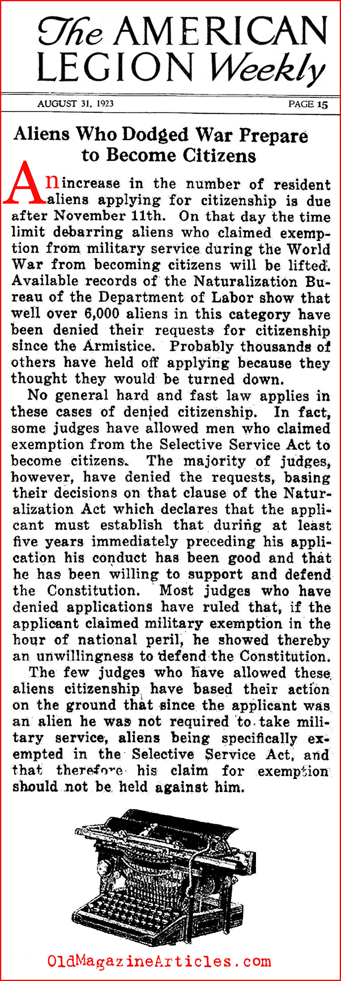 Resident Aliens: Not Eligible for the 1917 Draft (American Legion Weekly, 1923)