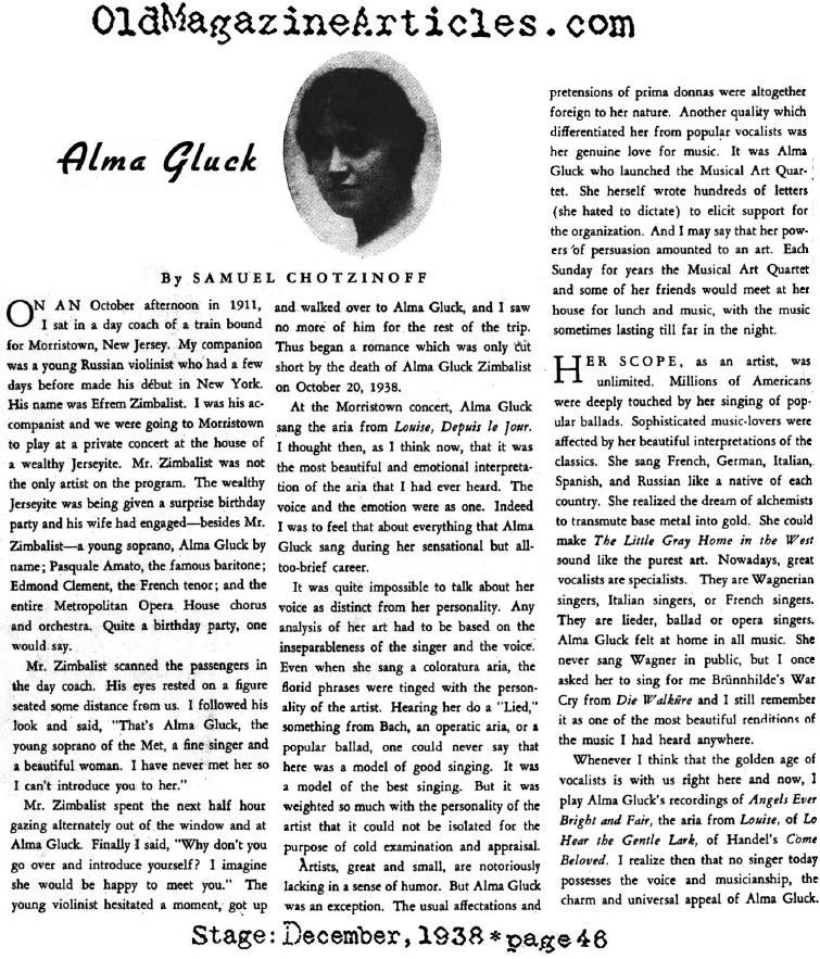 Remembering Alma Gluck (Stage Magazine, 1938)