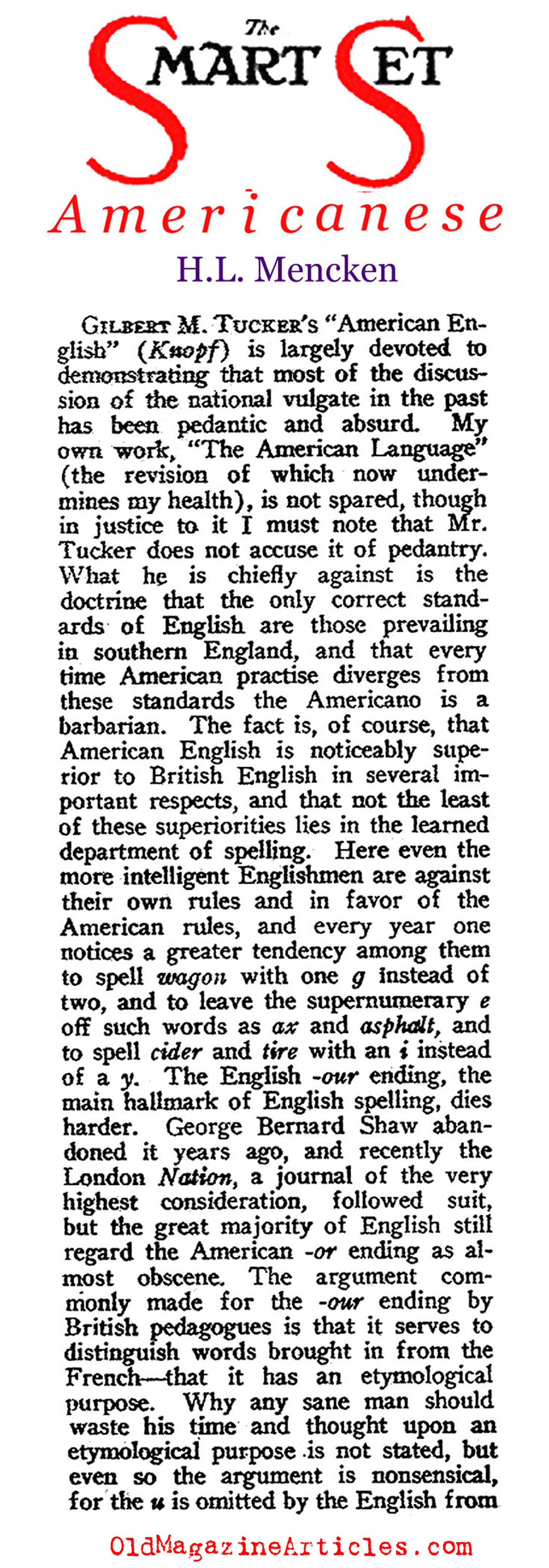 H.L. Mencken on American English (The Smart Set, 1921)