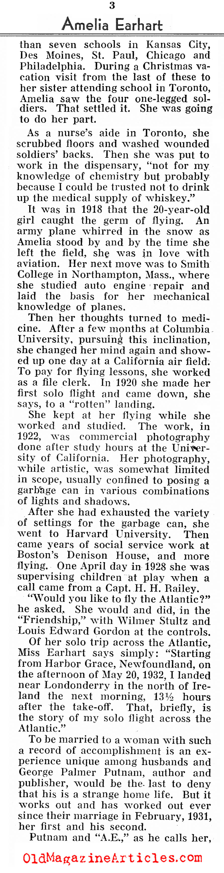 The Doomed Amelia Earhart (Pathfinder Magazine, 1937)