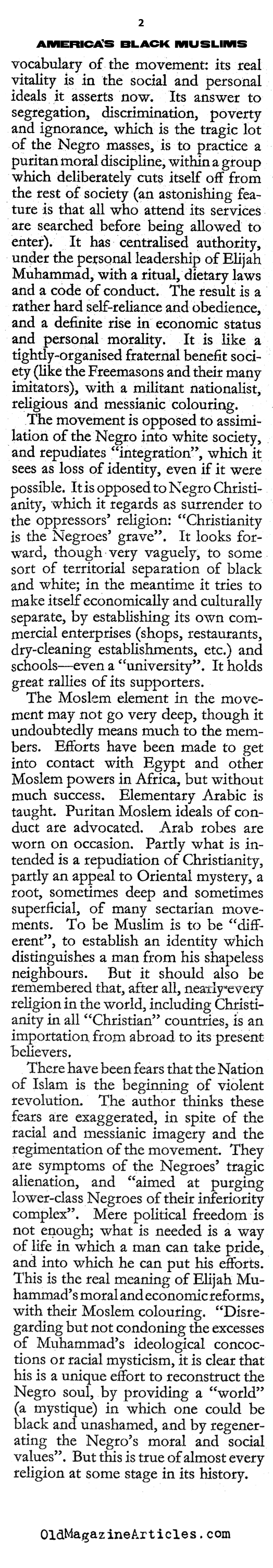 America's Black Muslims (The Hibbert Journal, 1965)