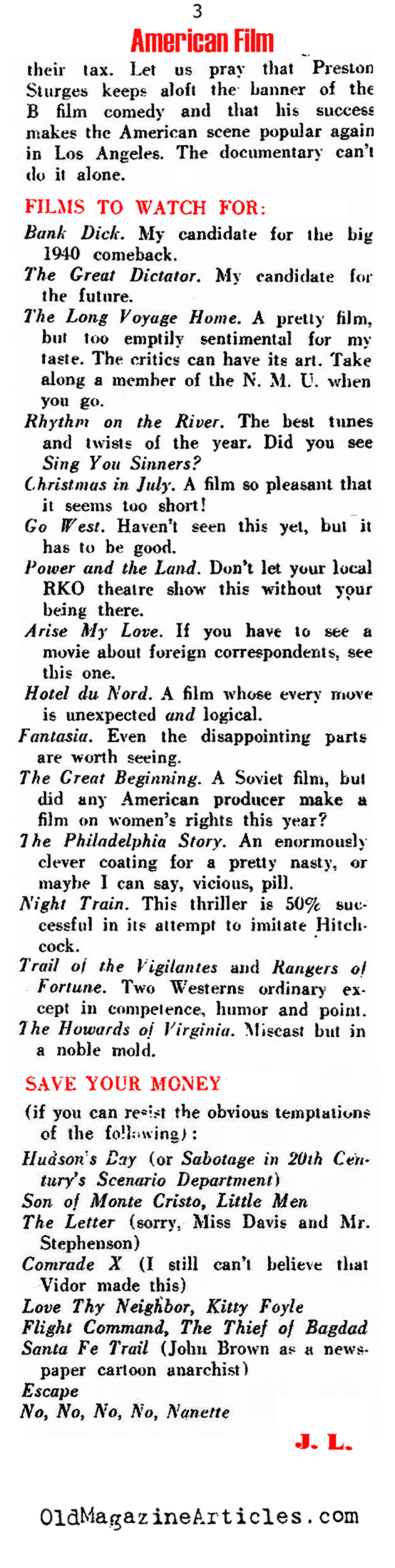 Thoughts on the American Films of 1941 (Direction Magazine, 1941)