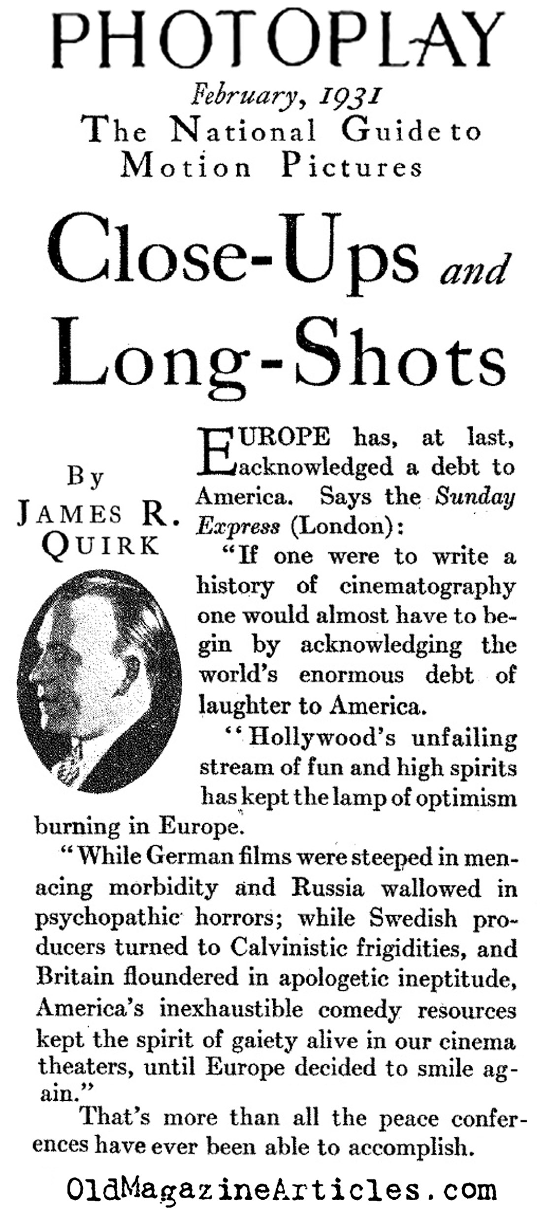 European Praise for American Silent Comedies (Photoplay Magazine, 1931)