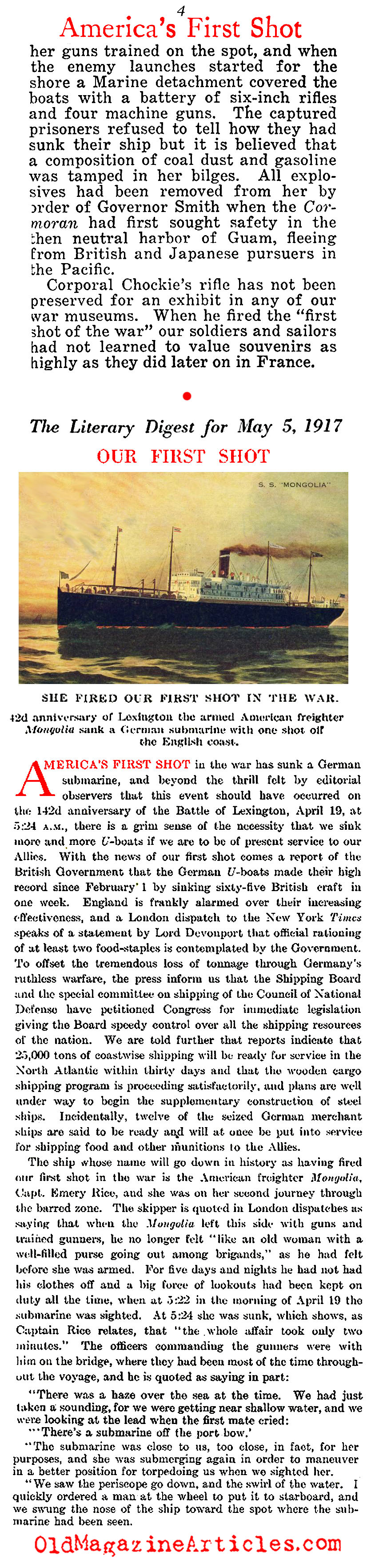 U.S. Navy Fired America's First Shot   (Literary Digest, 1917)