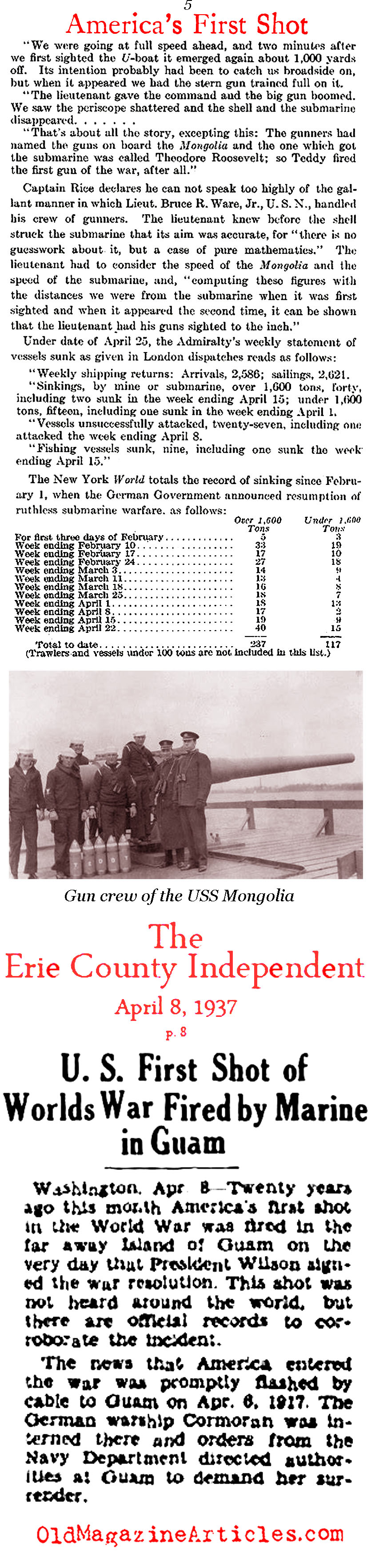 America's First Shot (Various Sources, 1917 - 1937)