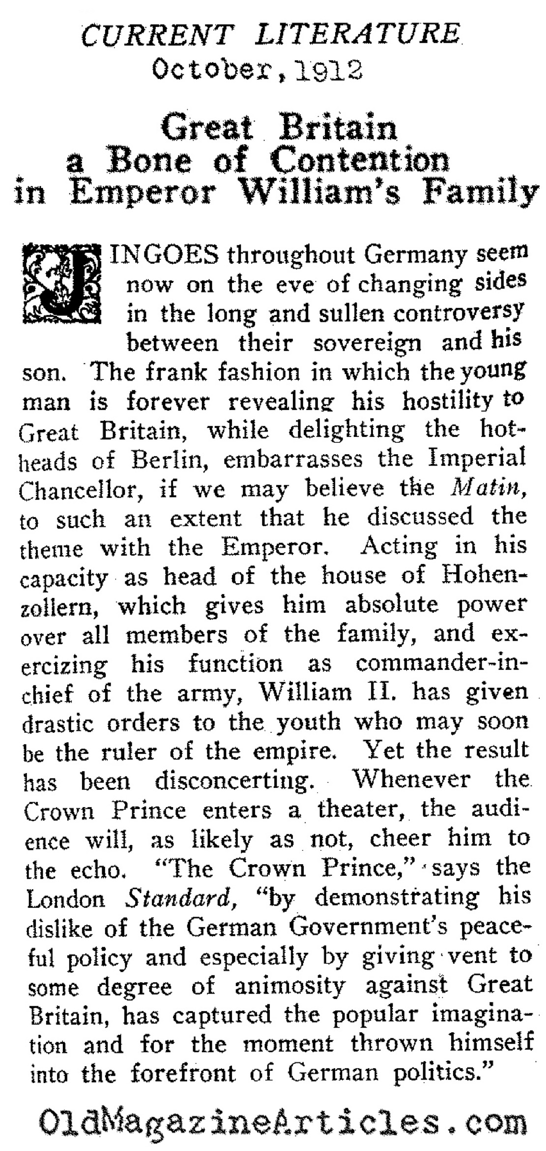 The Crown Prince: Saber Rattler  (Current Literature, 1912)