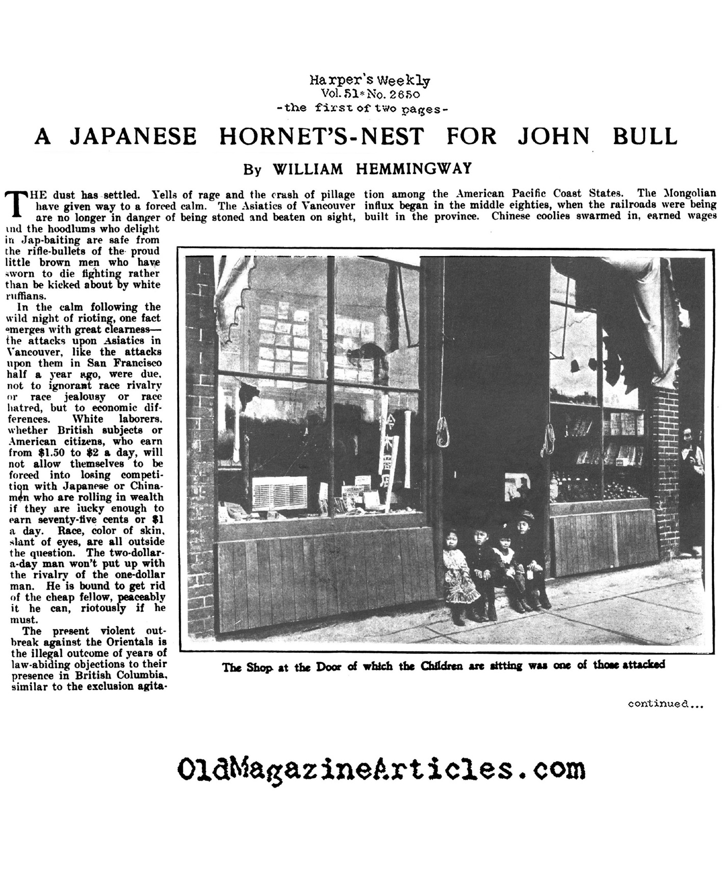 Anti-Asian Riots in Vancouver (Harper's Weekly, 1907)
