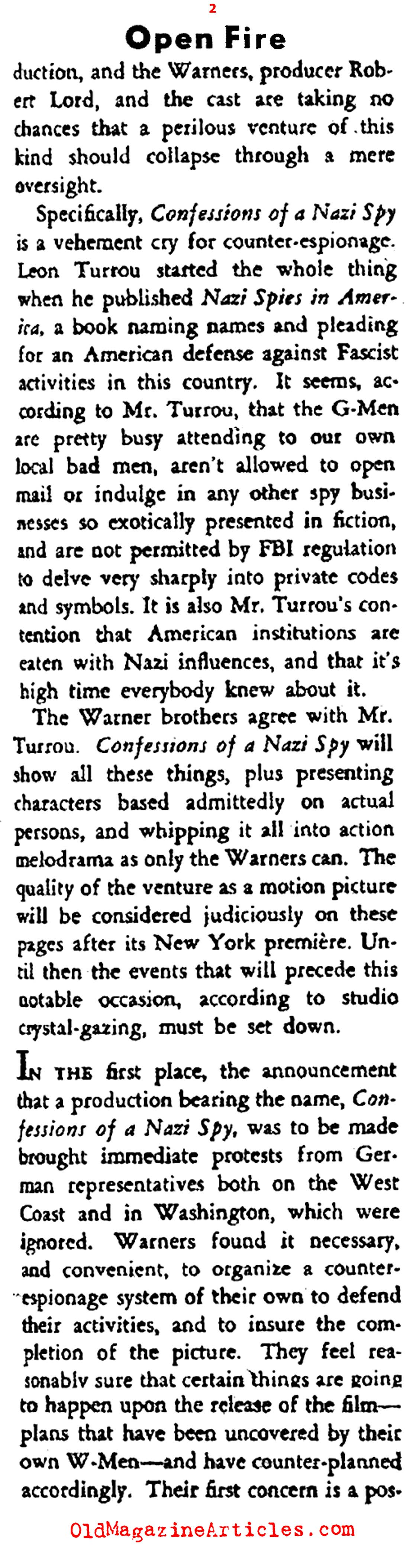 Warner Brothers Opens Fire on Nazi Germany (Stage Magazine, 1939)
