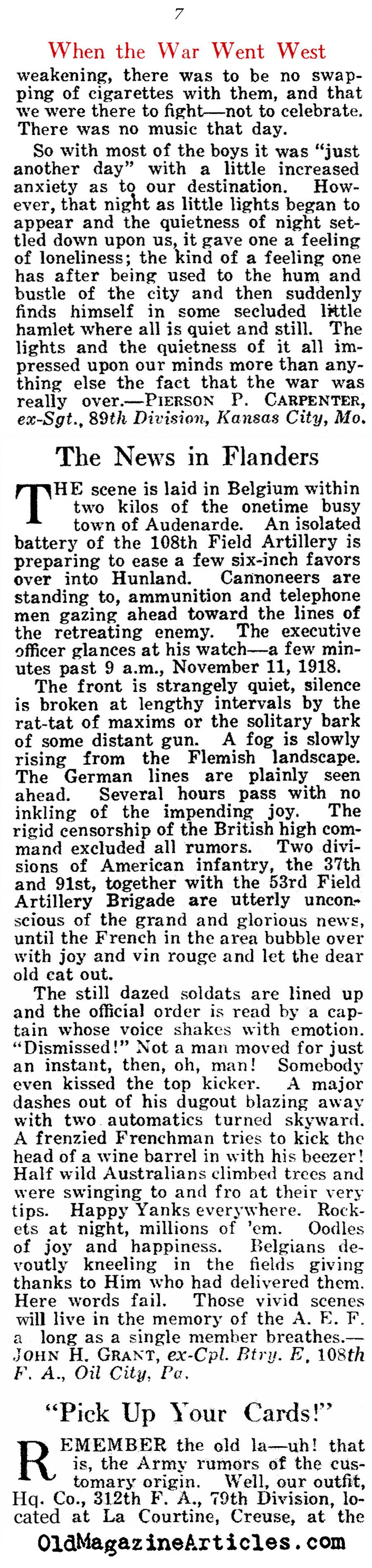 Where Were You When You Heard of The Armistice? (American Legion Weekly, 1921)