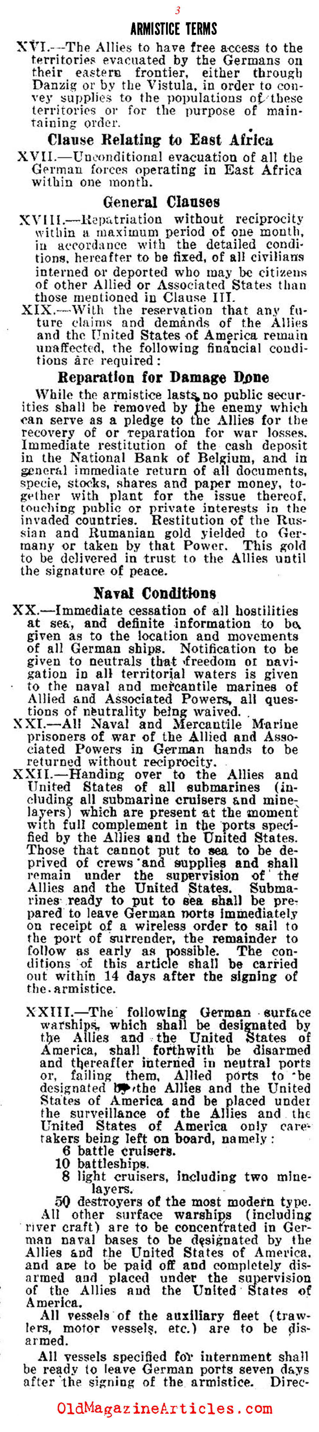The Demands of the 1918 Armistice (The Stars and Stripes, 1918)