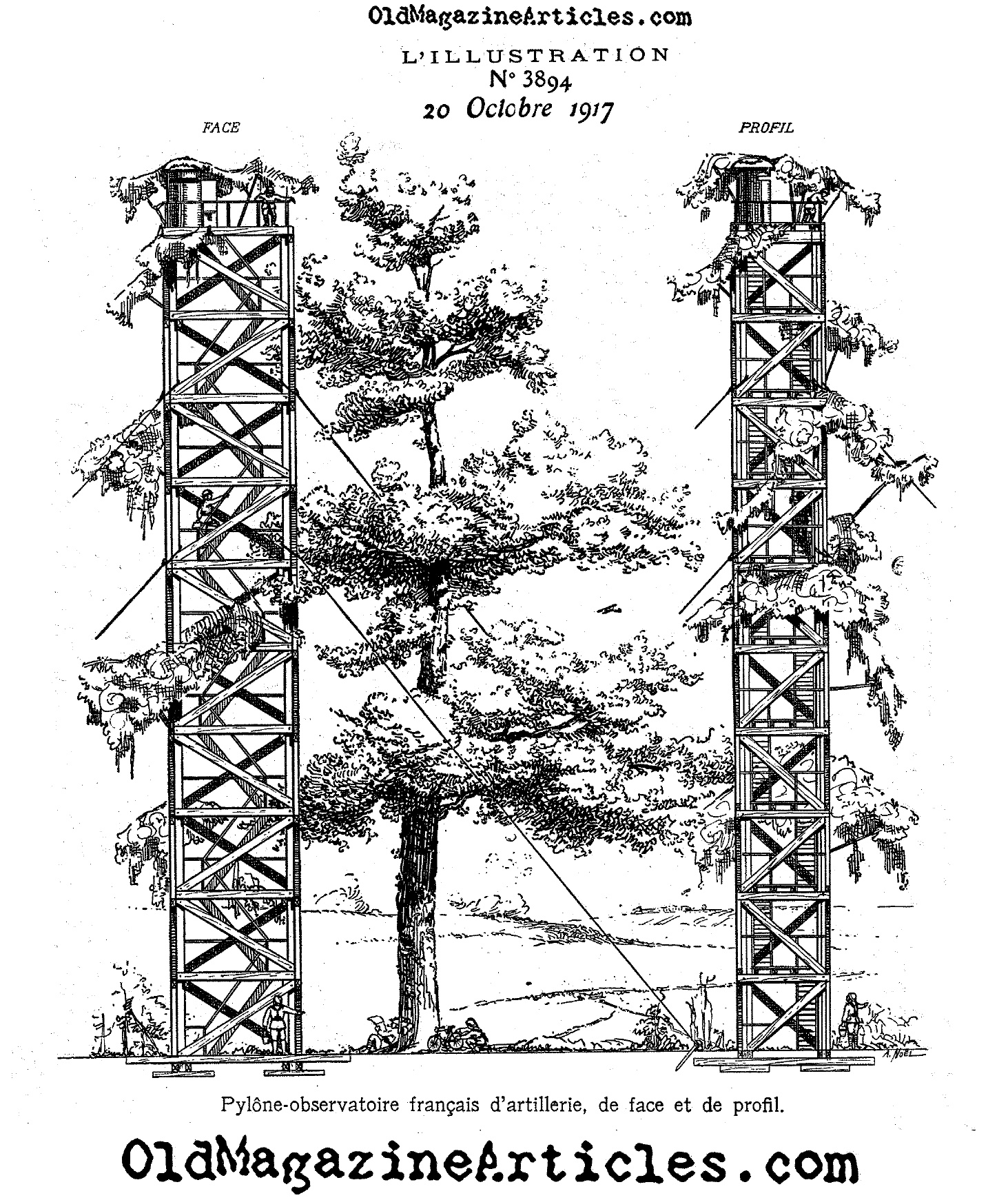 Diagram Of A Ww1 Artillery Observation Towerww1 Tower For Usb Webcam Wire An Lillustration 1917