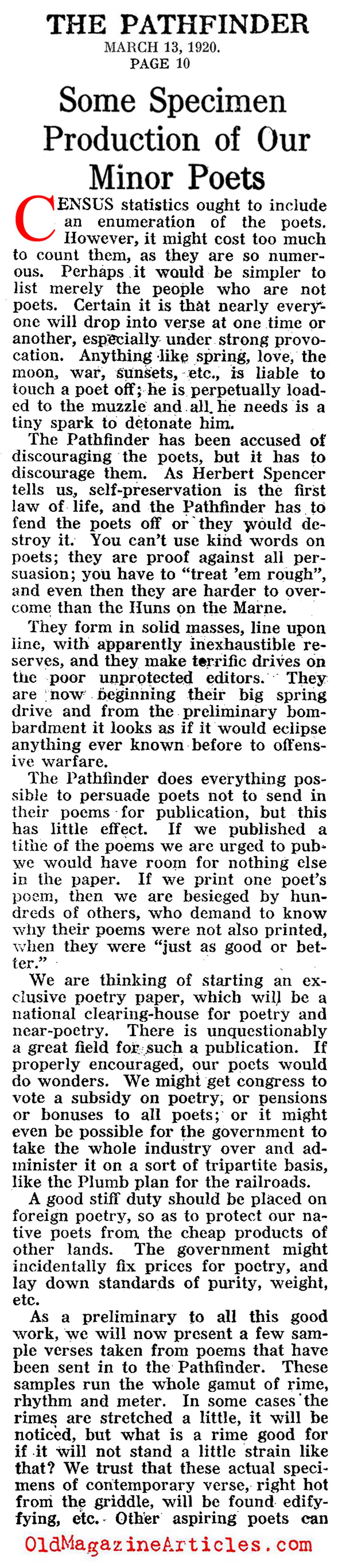 The Bad War Poets (Pathfinder Magazine, 1920)