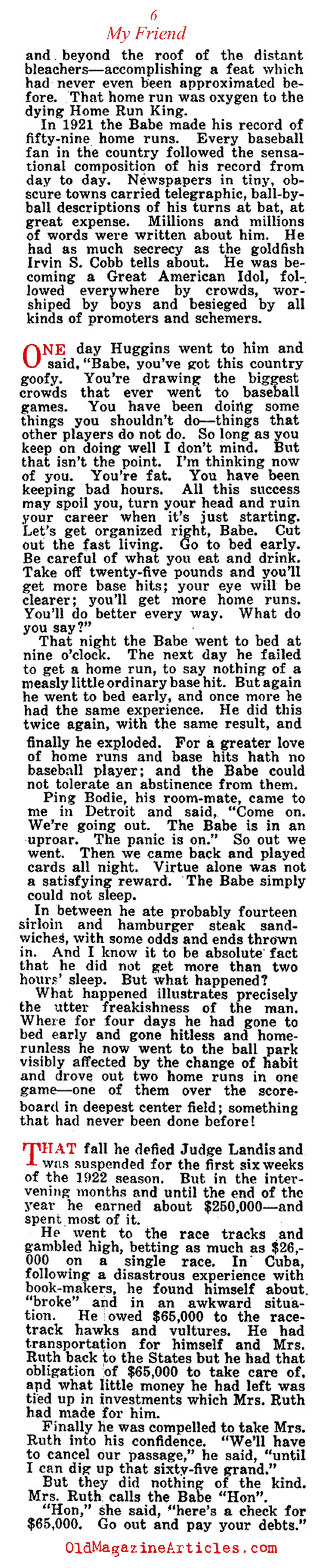 ''My Friend Babe Ruth'' (Collier's Magazine, 1924)