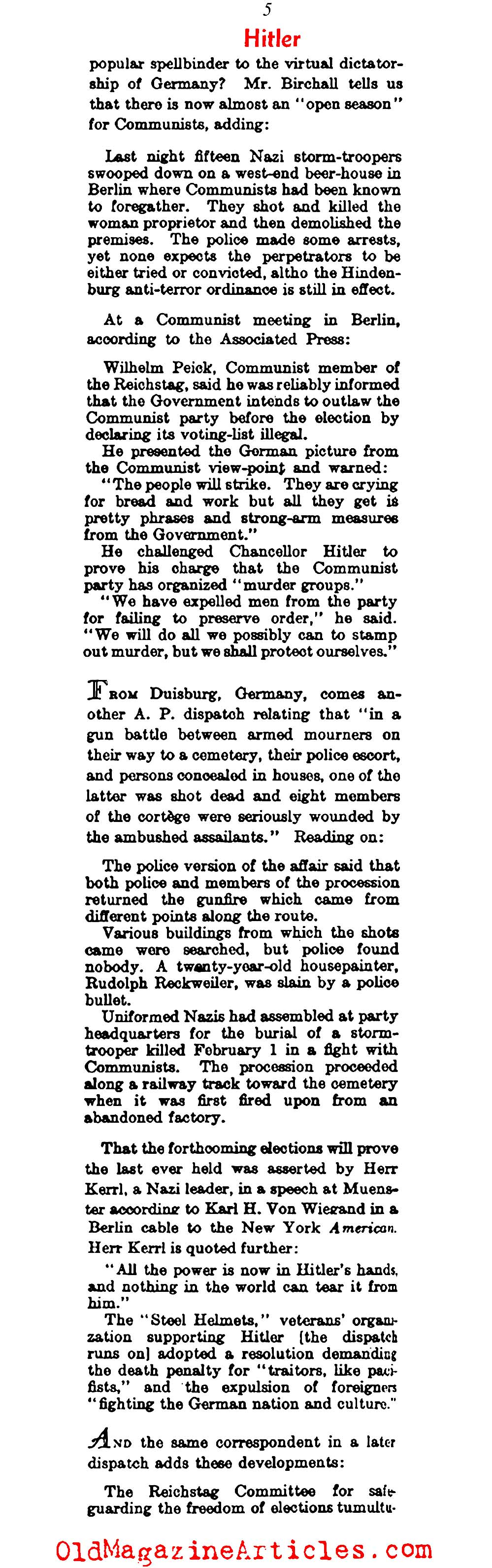From the Beer Hall Putsch and Beyond (Literary Digest, 1933)
