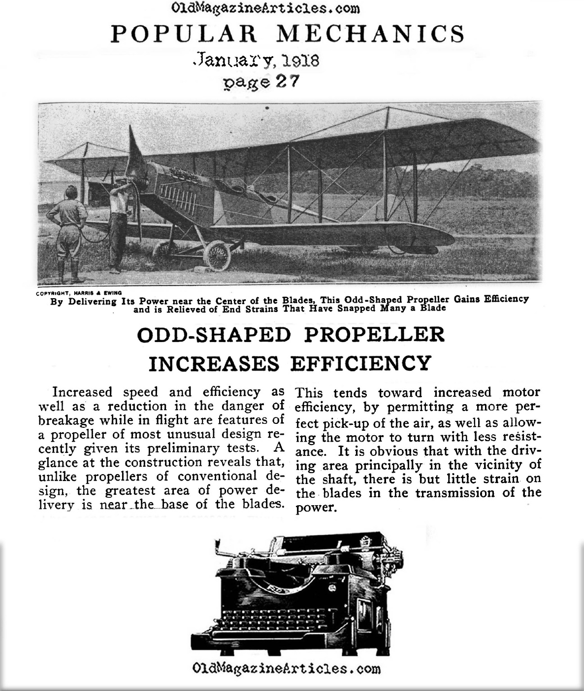 Odd-Shaped Propeller More Efficient  (Popular Mechanics, 1918)