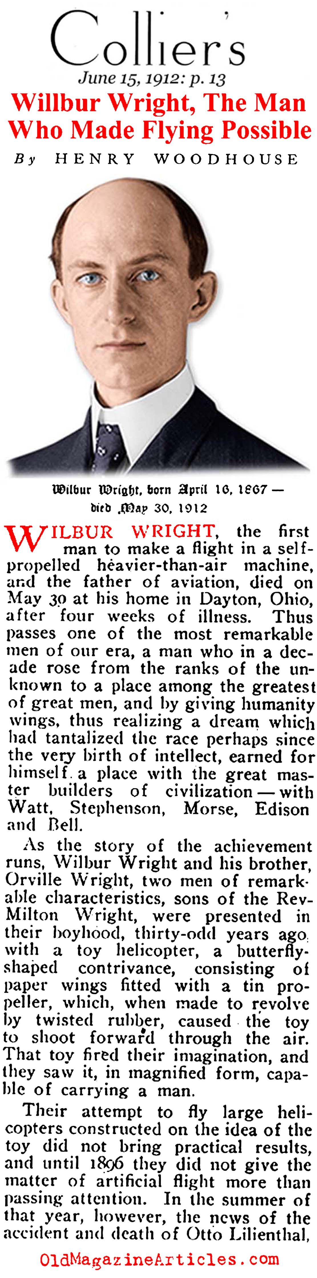 Wilbur Wright, R.I.P. (Collier's, 1912)