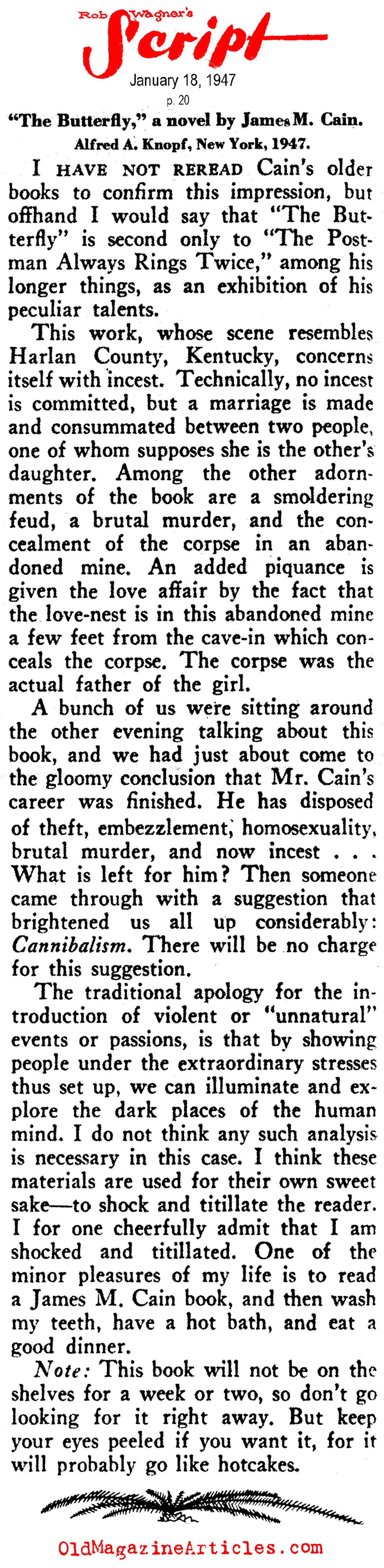 A 1947 Review of THE BUTTERFLY by James M. Cain (Rob Wagner's Script, 1947)