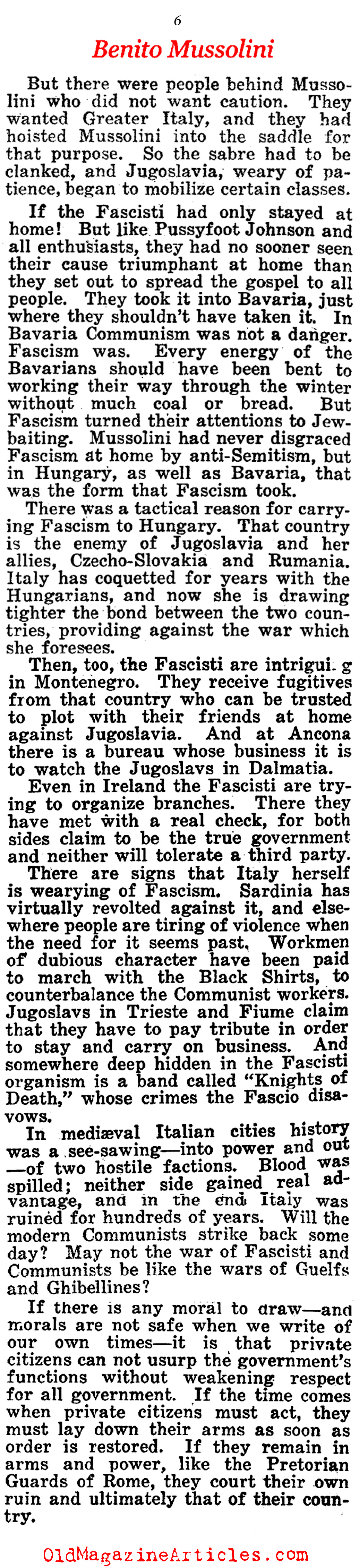 Benito Mussolini And His Followers  (American Legion Weekly, 1923)