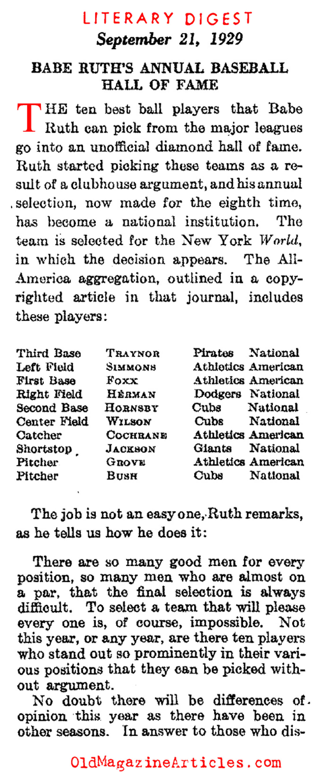 Babe Ruth Ranks and his Peers (Literary Digest, 1929)