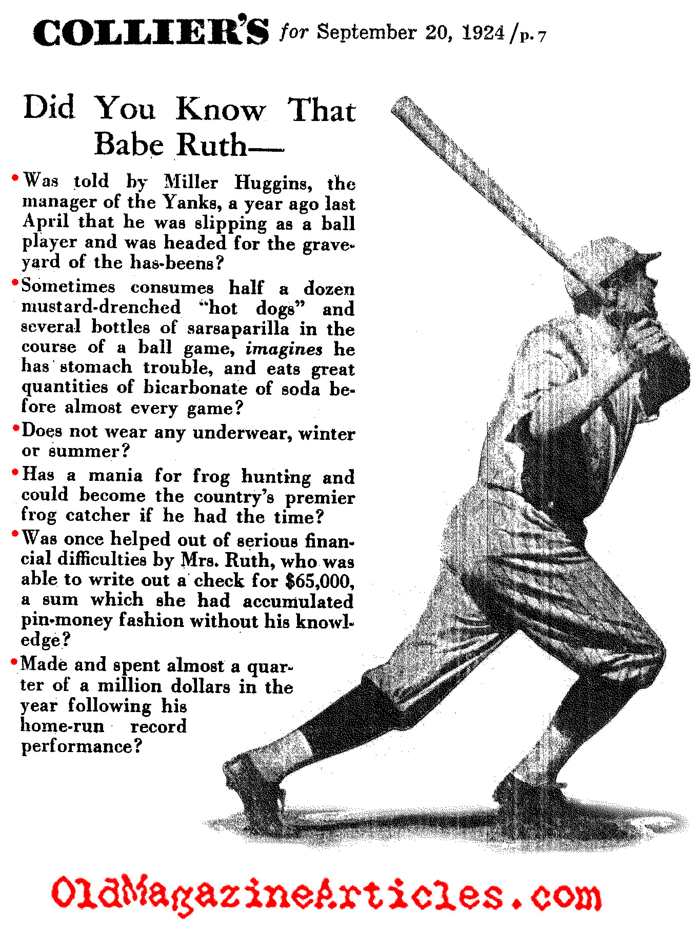 The Little Things That Made Babe Ruth (Colliers' Magazine, 1924)