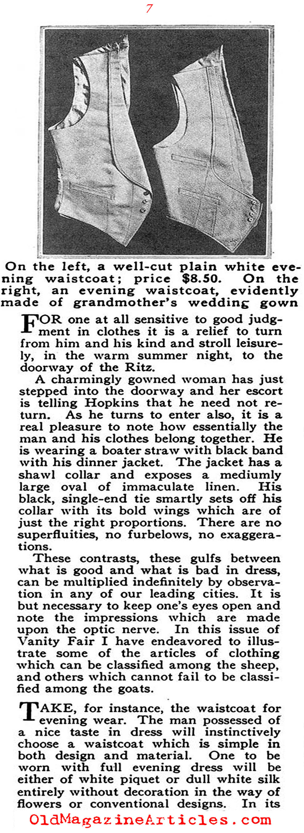 The Well Dressed Man Confronts Bad Taste  (Vanity Fair Magazine, 1918)