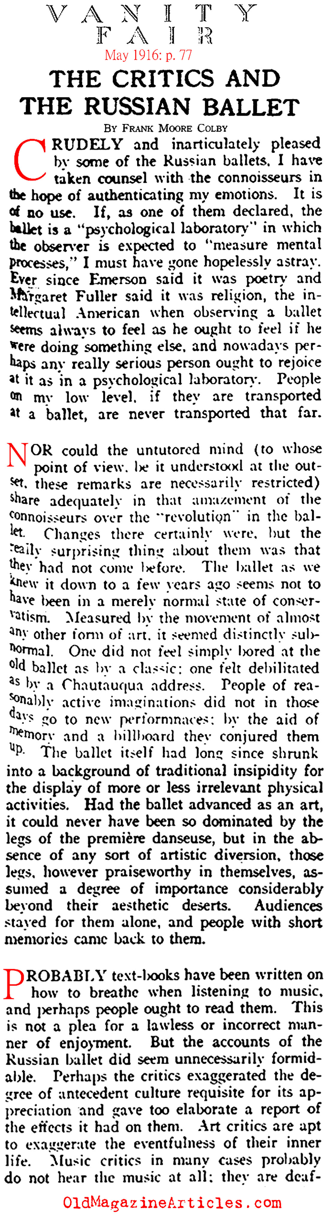 The Critics of the Russian Ballet (Vanity Fair, 1916)