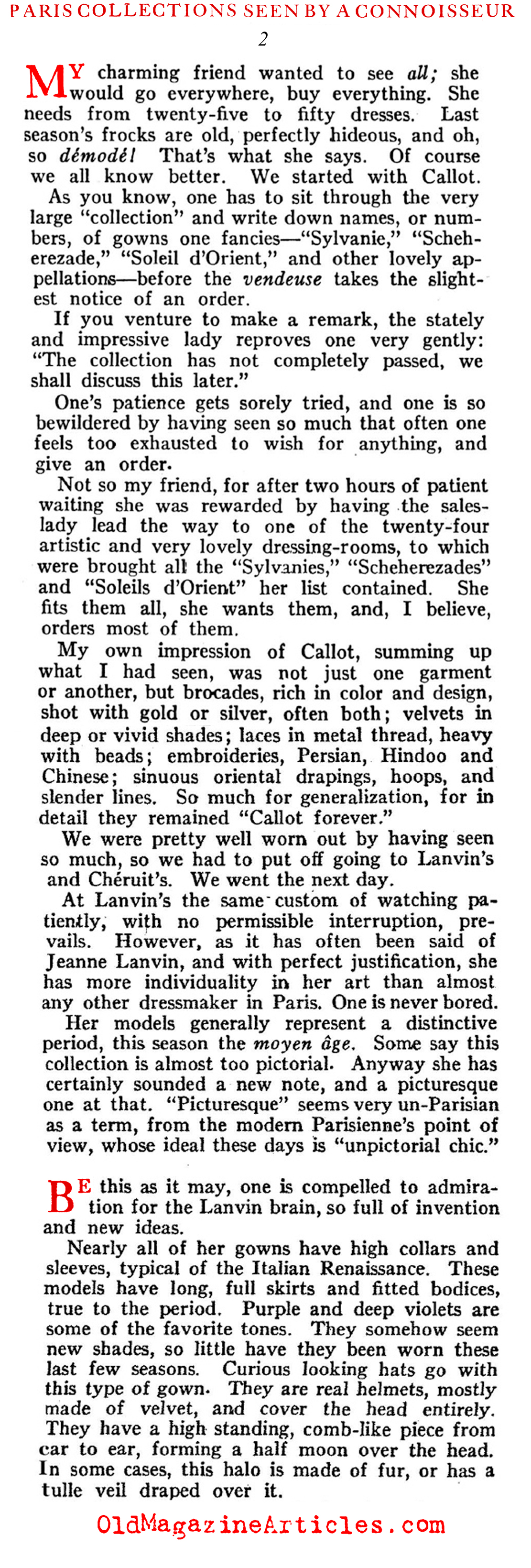 Baron Adolf de Meyer and the Paris Collections of 1922 (Harper's Bazaar, 1922)