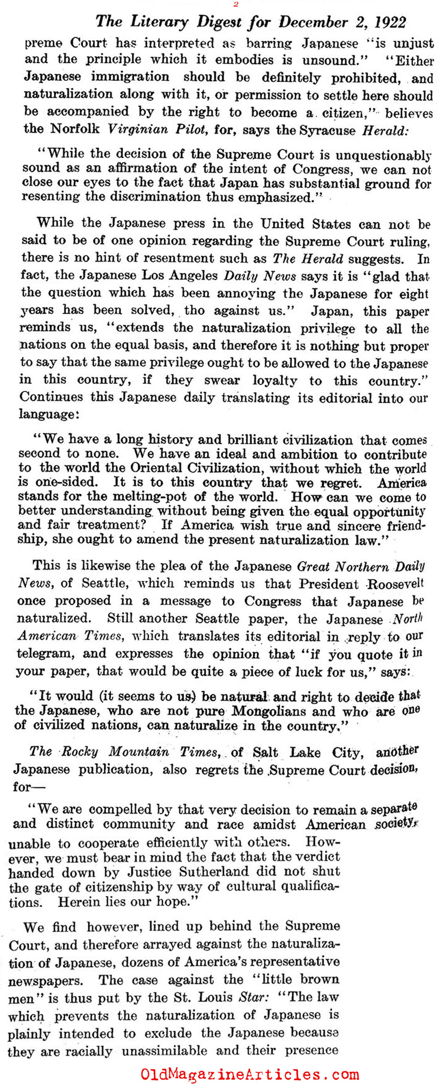 No Citizenship for Japanese Immigrants (Literary Digest, 1922)
