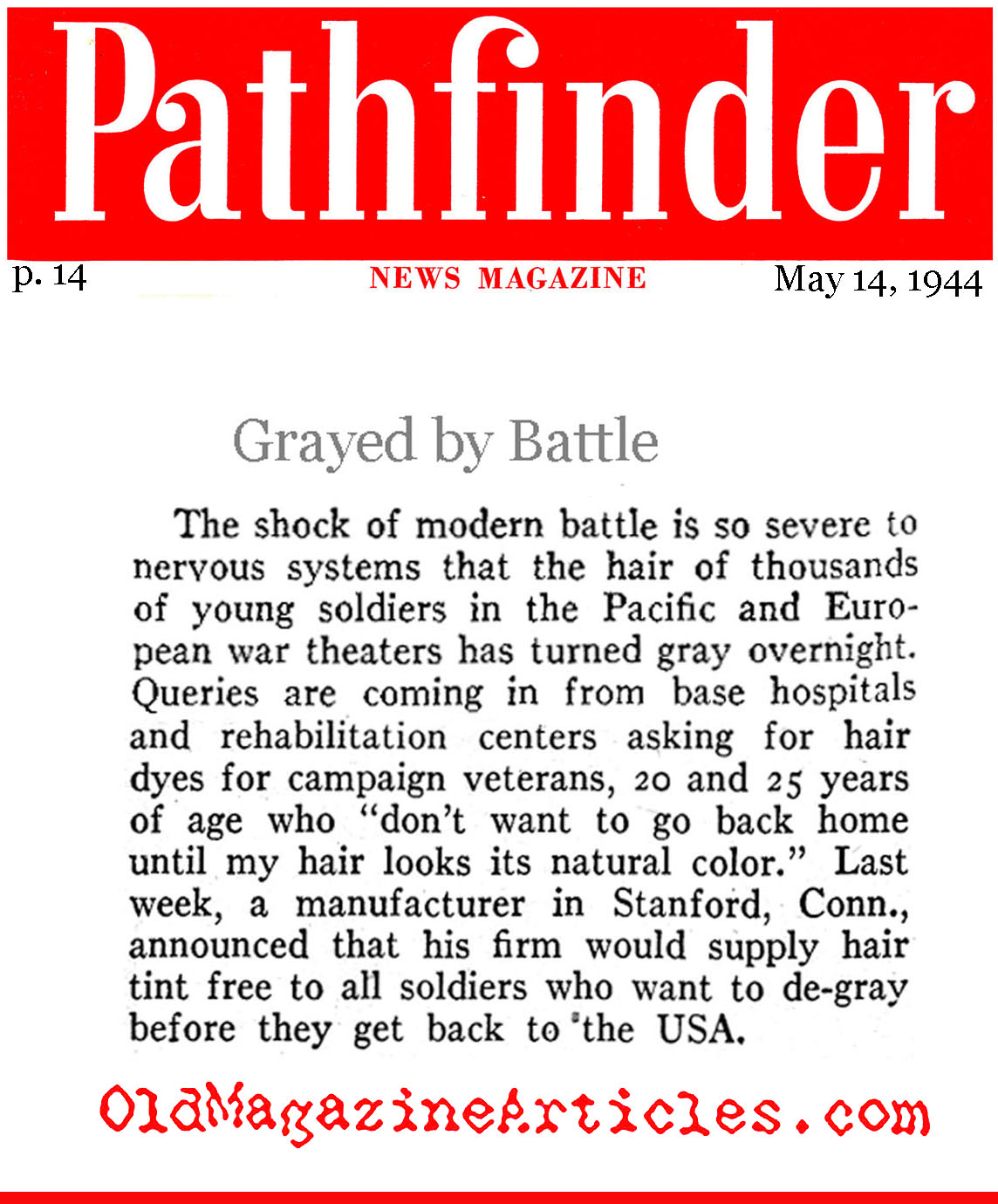 The Brutality of Combat (Pathfinder Magazine, 1944)