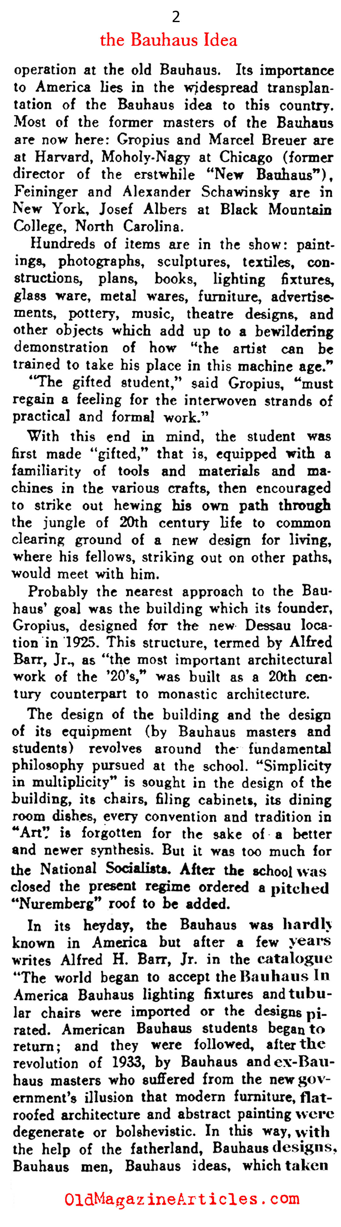 The Bauhaus Exhibit at the Museum of Modern Art  (Art Digest, 1938)