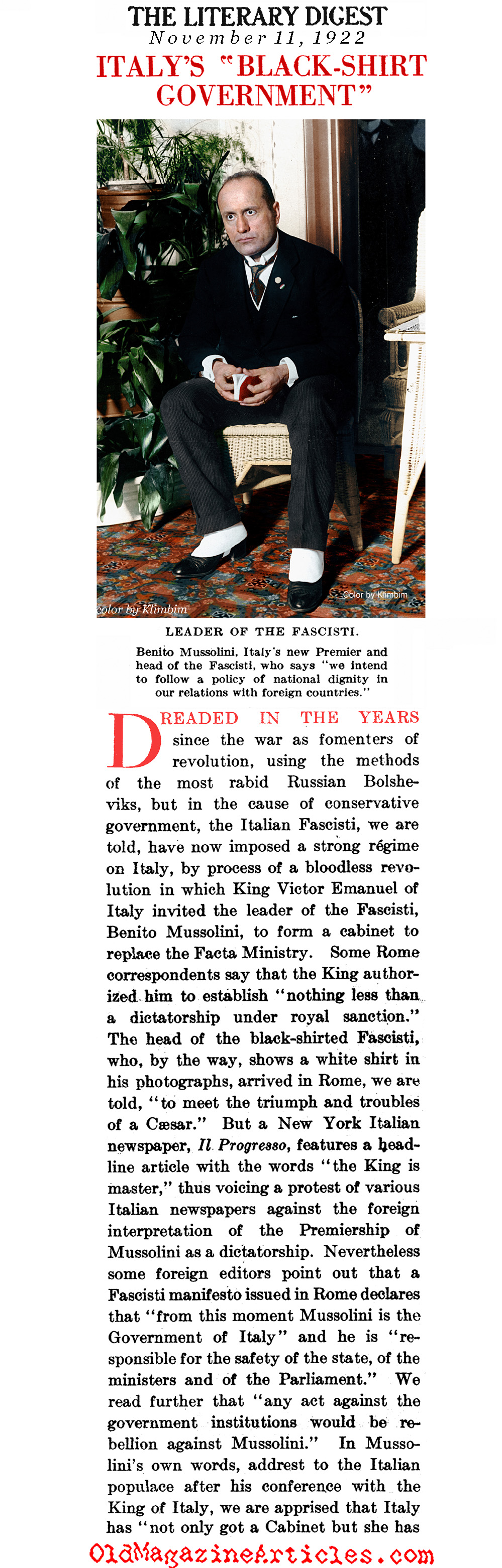 The King of Italy Smiles on the Fascists  (The Literary Digest, 1922)