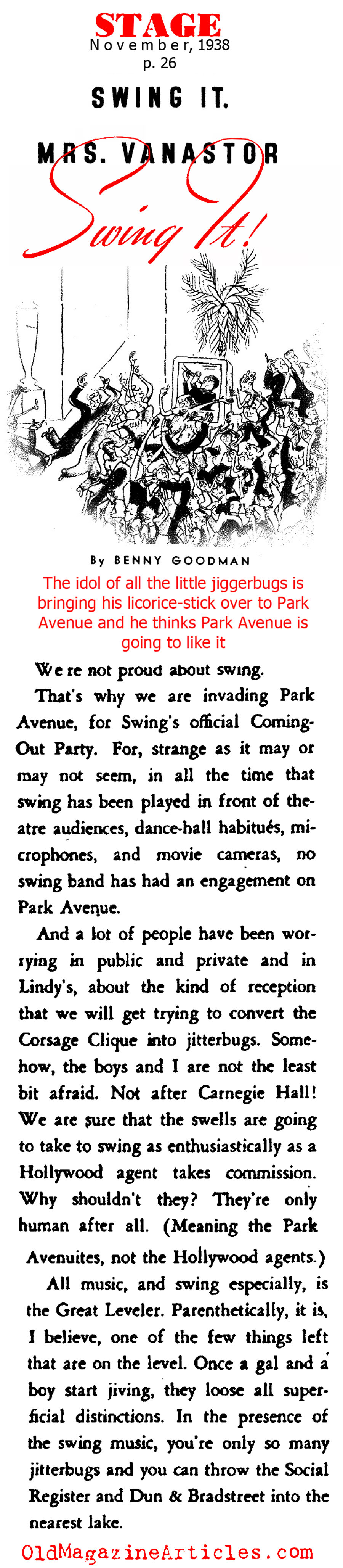 Benny Goodman, The King of Swing, on Park Avenue  (Stage Magazine, 1938)
