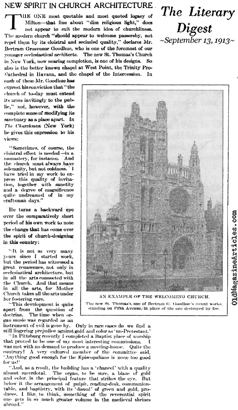 Bertram G. Goodhue on Church Architecture (Literary Digest, 1913)
