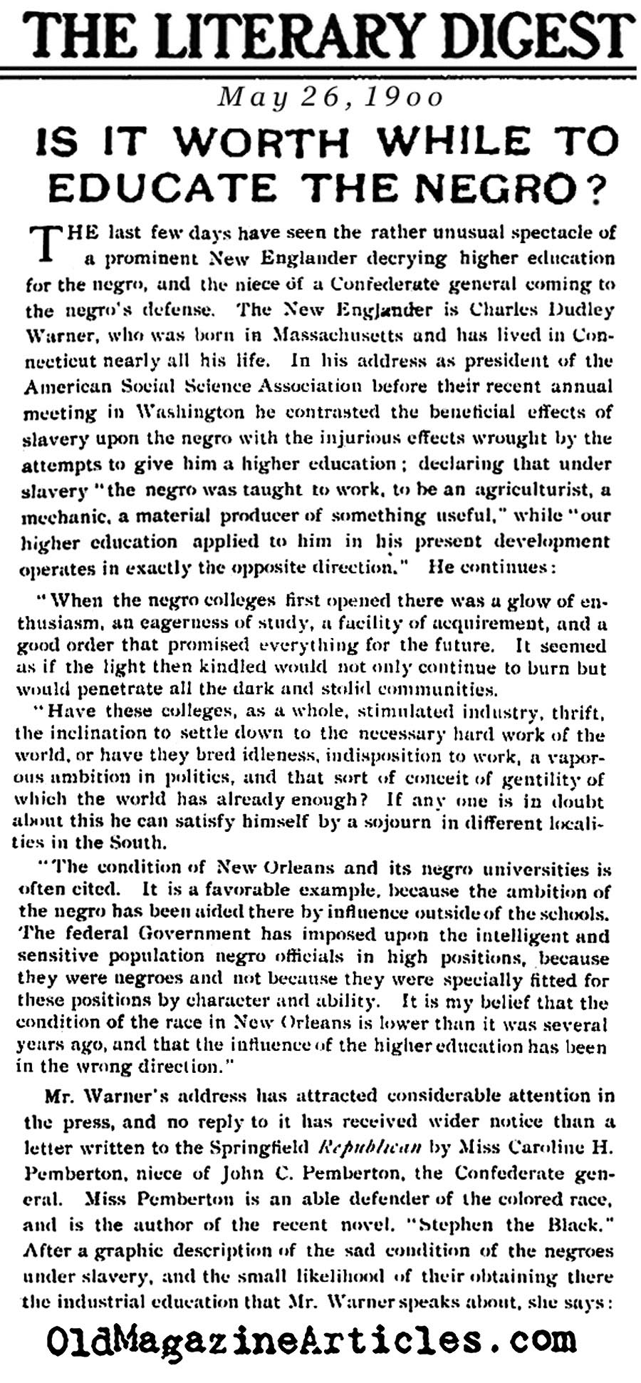 ''Is It Worth While to Educate the Negro?''<BR>(Literary Digest, 1900)