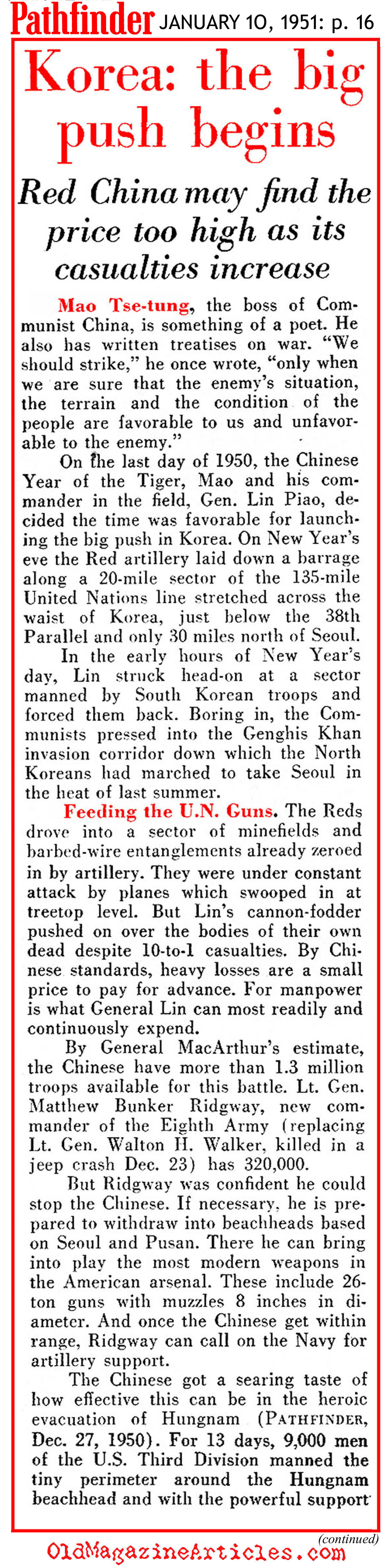 The North Korean Winter Offensive (Pathfinder Magazine, 1951)