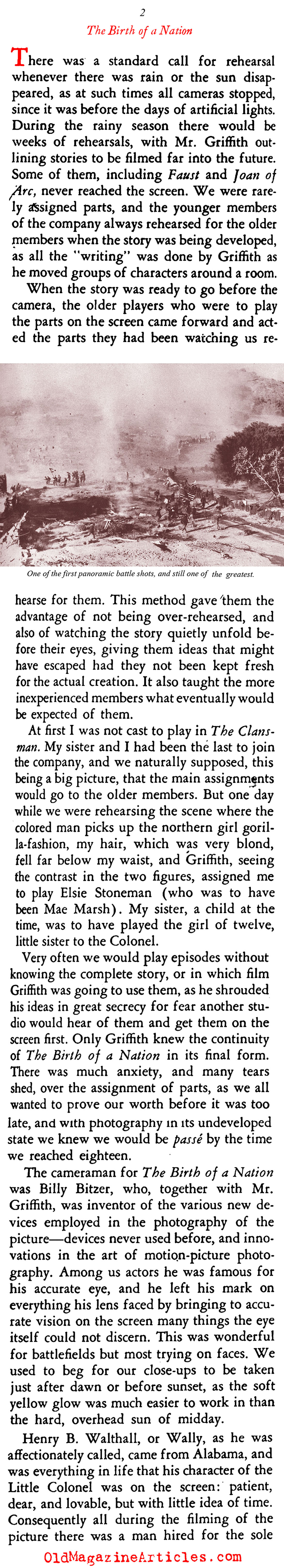 Lillian Gish Recalls ''The Birth of a Nation'' (Stage Magazine, 1937)