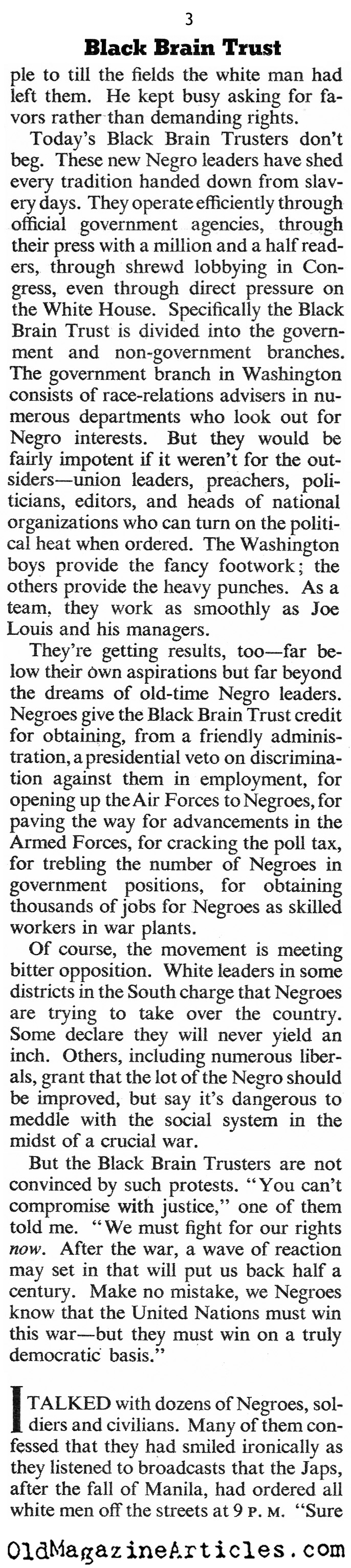 ''The Black Brain Trust'' (The American Magazine, 1943)
