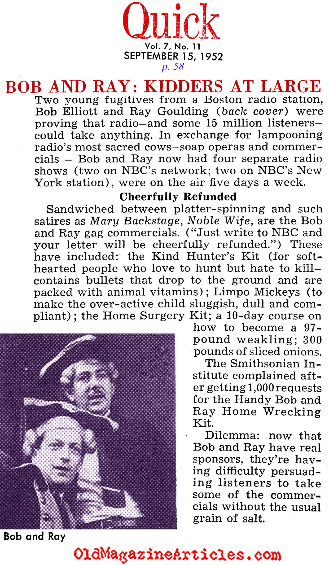 The Timeless Comedy of Bob and Ray (Quick Magazine, 1952)