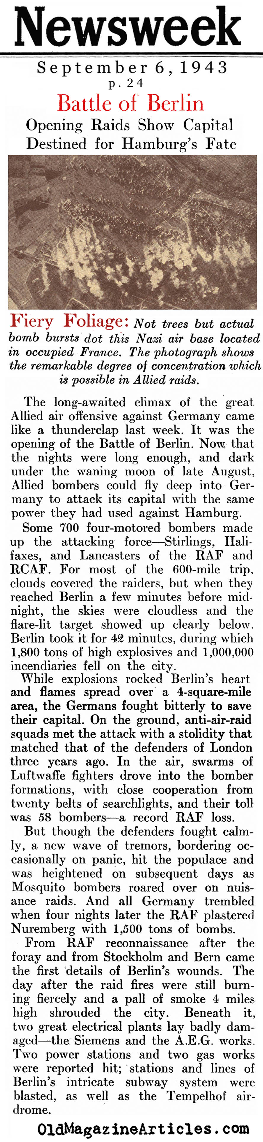 The Battle of Berlin (Newsweek Magazine, 1943)