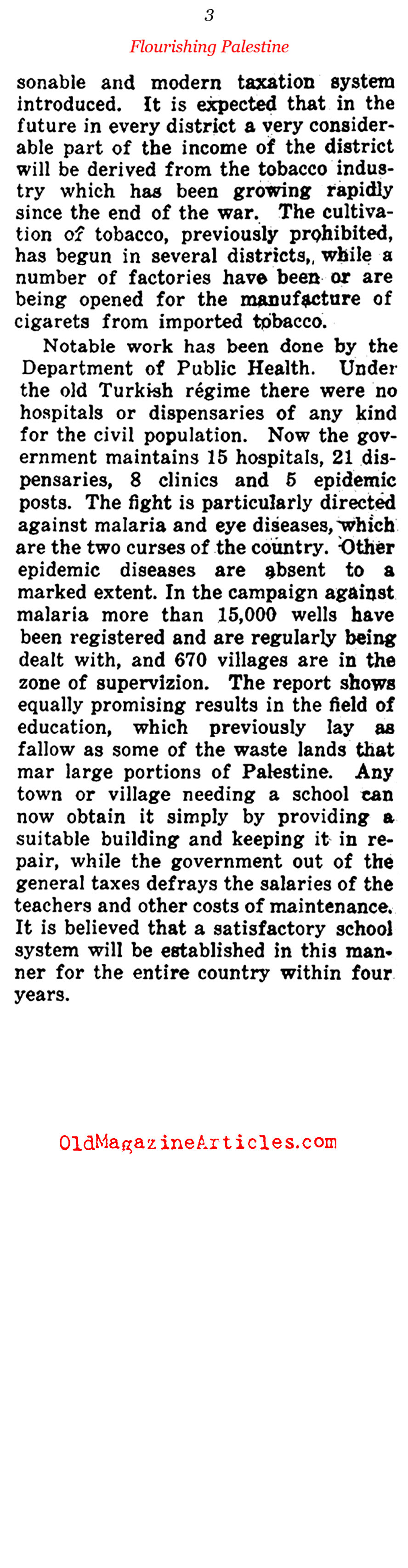 British Palestine Thrives (Current Opinion, 1922)