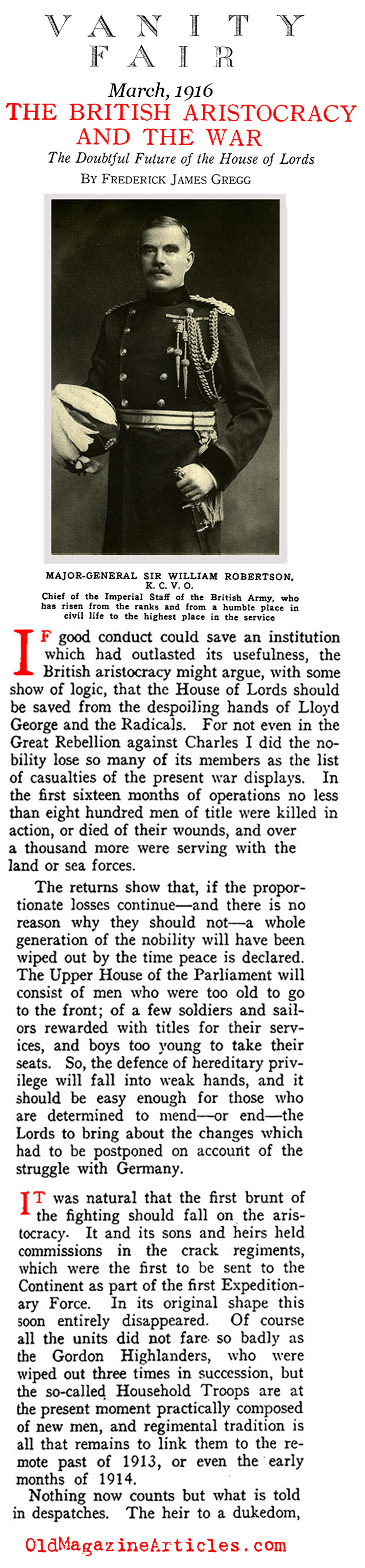 The British Aristocracy and the Great  War (Vanity Fair, 1916)