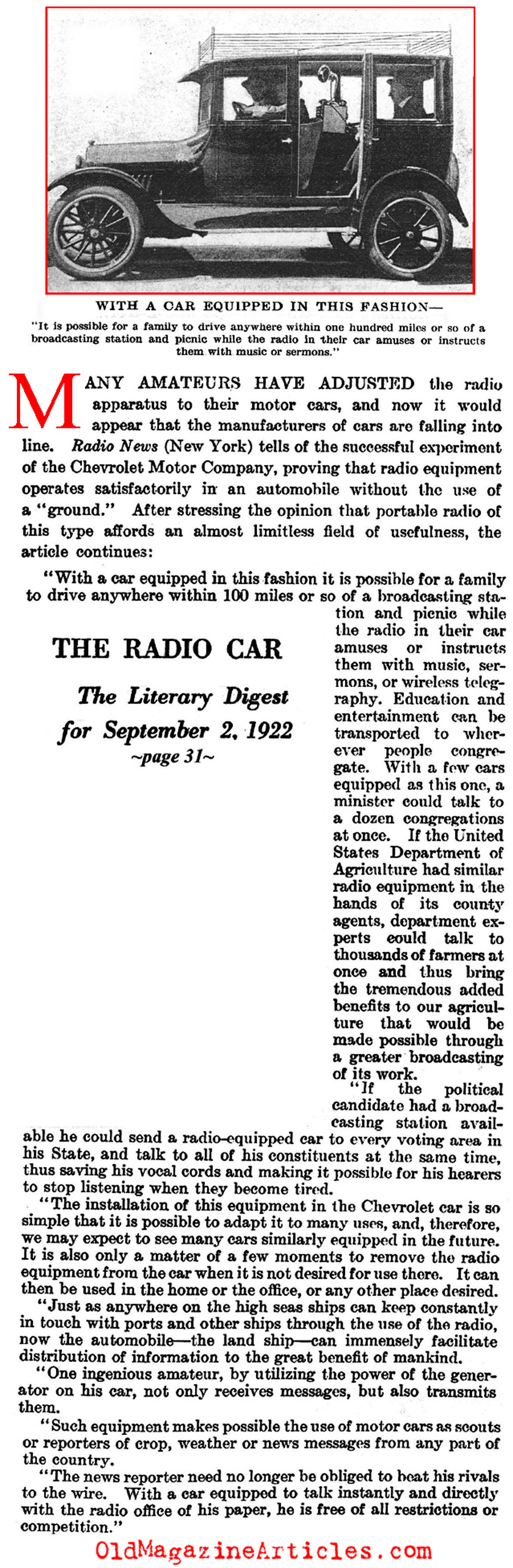 The First Car Radio (Literary Digest, 1922)