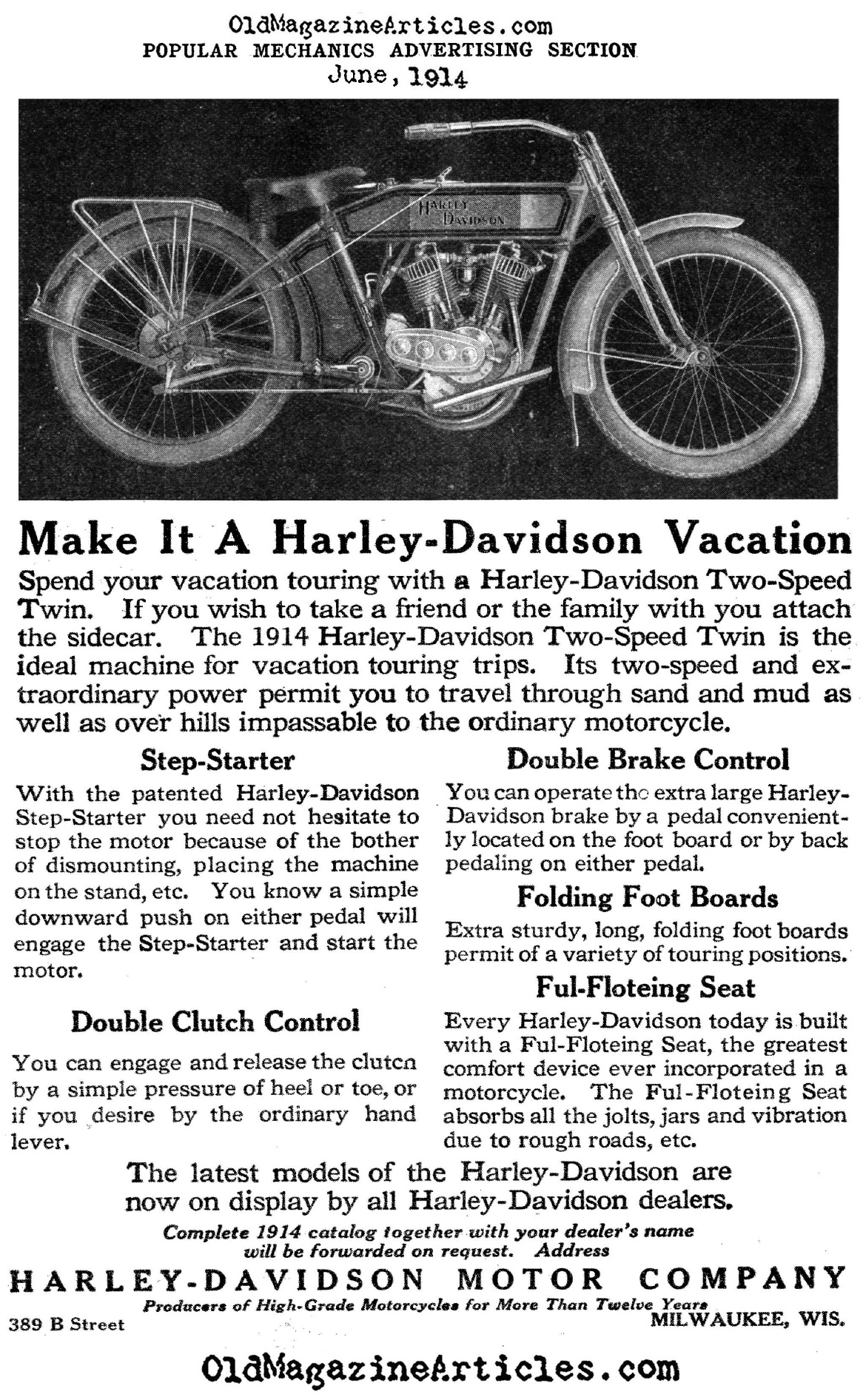 A New Kind of Motorcycle (Magazine Advertisement, 1914)