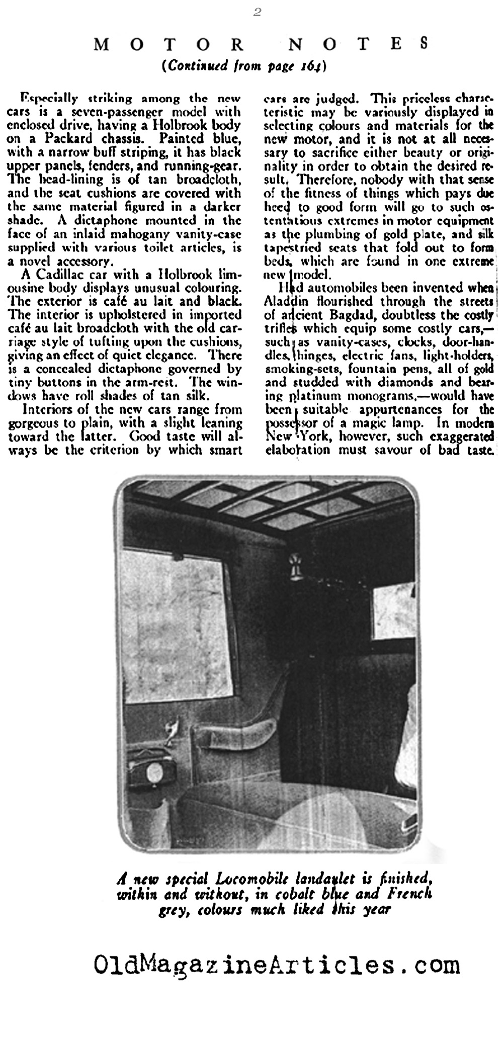 Upholstery in the Finest Luxury Cars of 1920 (Vogue Magazine, 1920)