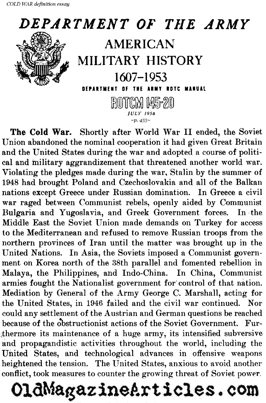 Essays on the origin of the cold war
